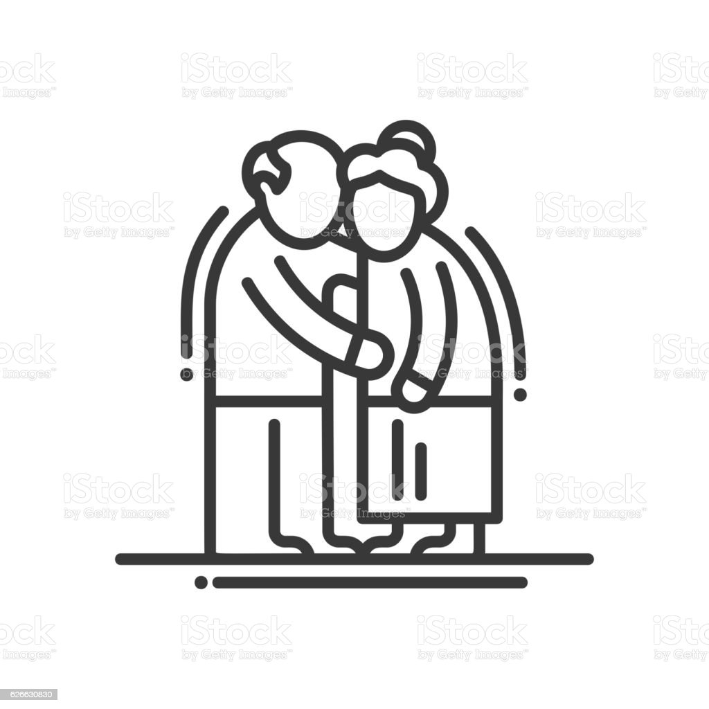 Elderly Couple - line design single isolated icon vector art illustration