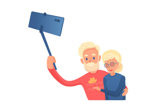 elderly couple making selfie vector illustration - old man pic cartoons stock illustrations, clip art, cartoons, & icons