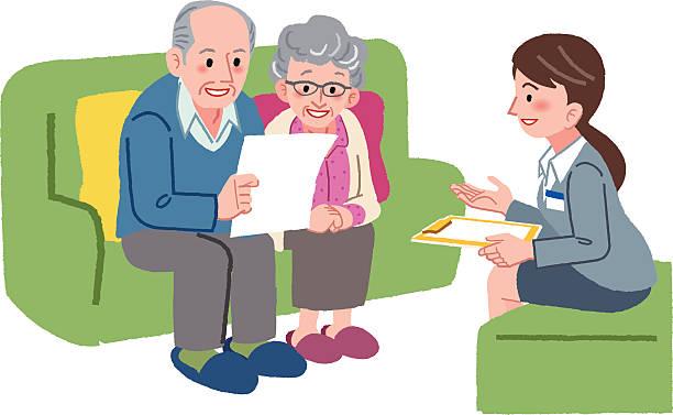 Ältere paar Treffen mit Geriatric Service manager – Vektorgrafik