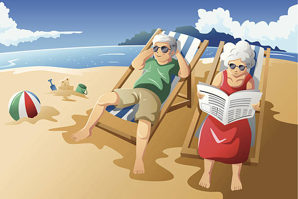 stockillustraties, clipart, cartoons en iconen met elderly couple on beach enjoying retirement - newspaper beach