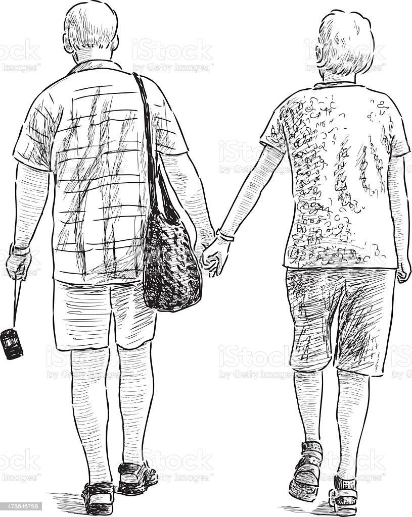 elderly couple on the stroll vector art illustration