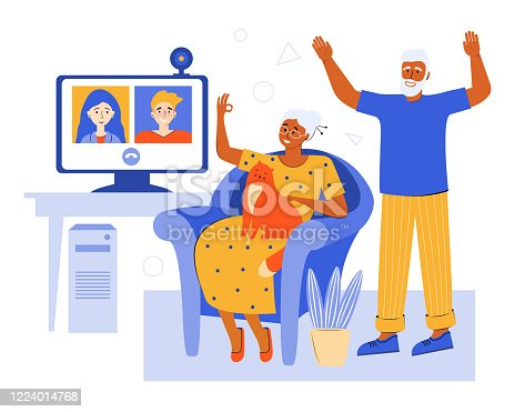 Elderly couple online via video chat at home. Video conference with family in the quarantine using the app. Old parents talk to their children. Senior people spending time at home. Social network