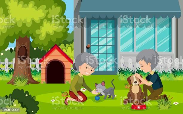 Elderly couple outsie with pets vector id980510002?b=1&k=6&m=980510002&s=612x612&h=xl vxccg6tgocslvdhl dllosx jcm7ooqy2zu1laj4=