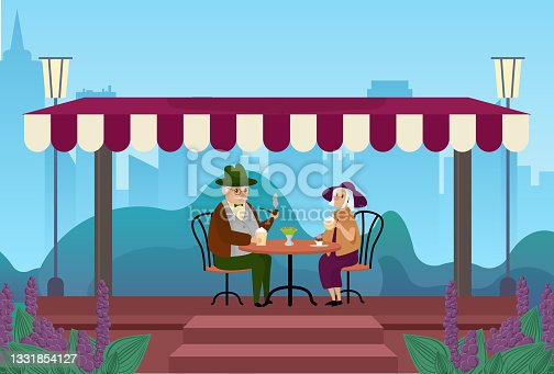 istock Elderly couple people drink coffee together in city street outdoor cafe meeting, talking 1331854127