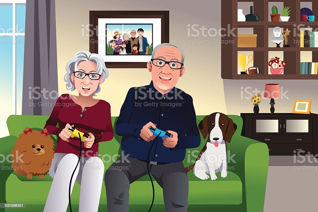 Elderly couple playing games at home vector art illustration