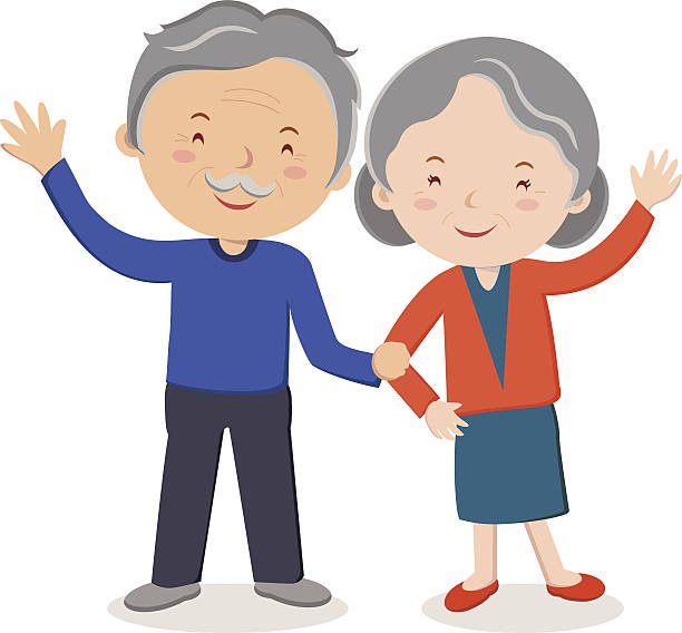 bildbanksillustrationer, clip art samt tecknat material och ikoner med elderly couple portrait - middle aged man dating