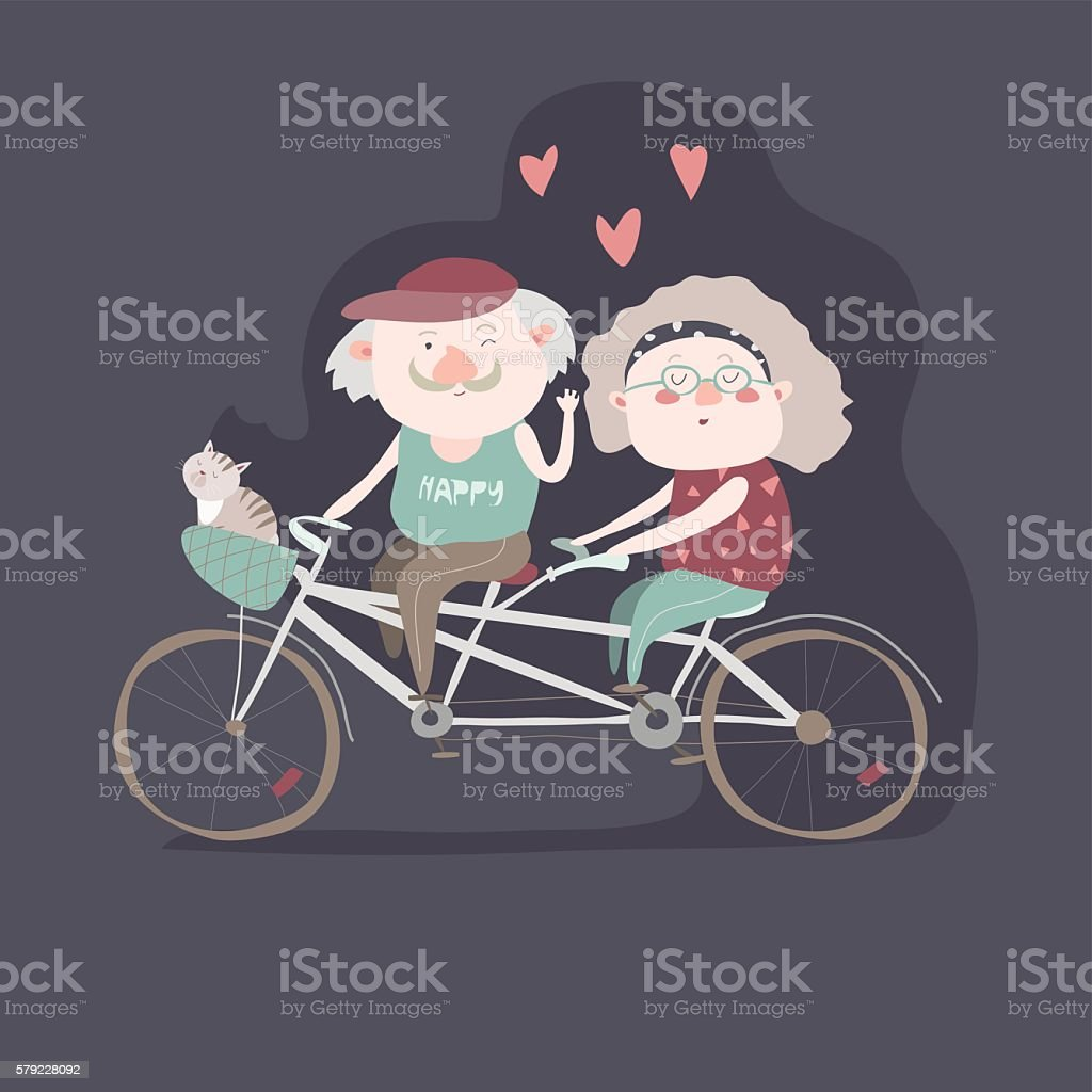 Elderly couple riding a bicycle tandem vector art illustration
