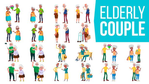 高齢者のカップルは、ベクトルを設定します。おばあちゃんとおじいちゃん。ライフ スタイル。高齢者の家族。白髪の文字。社会的概念。シニア。高齢者のカップル。アフロ ・ アメリカン� - 老夫婦点のイラスト素材/クリップアート素材/マンガ素材/アイコン素材