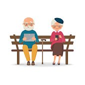 An elderly couple sitting on a bench with gadgets. Vector illustration