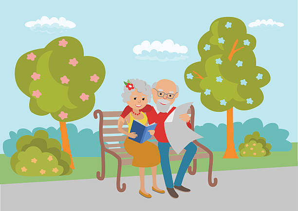 elderly couple sitting on the park bench and read. vector - old man smile cartoon stock illustrations, clip art, cartoons, & icons