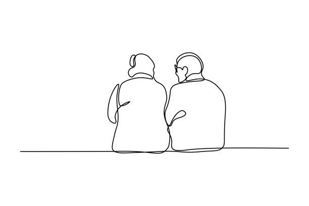 一緒に座っている老夫婦 - 老夫婦点のイラスト素材/クリップアート素材/マンガ素材/アイコン素材