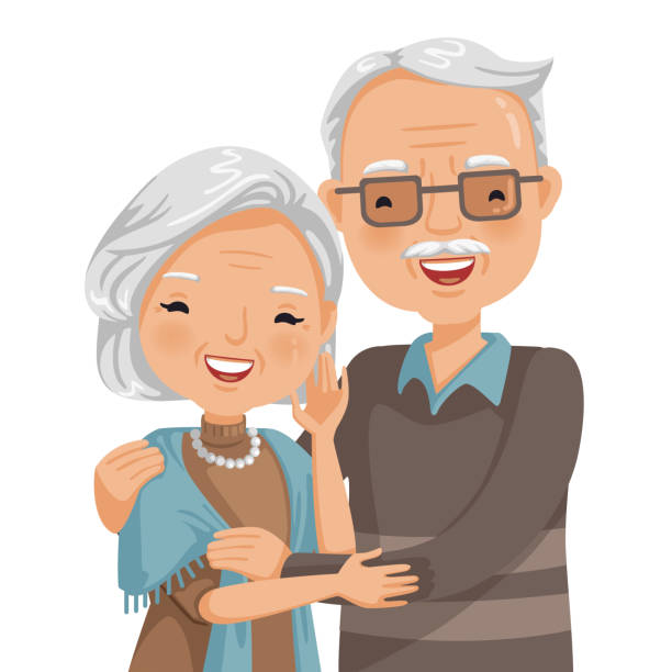 elderly couple smiling - old man hair stock illustrations, clip art, cartoons, & icons