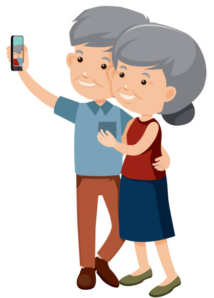 elderly couple taking a photo together - old man smiling backgrounds stock illustrations, clip art, cartoons, & icons