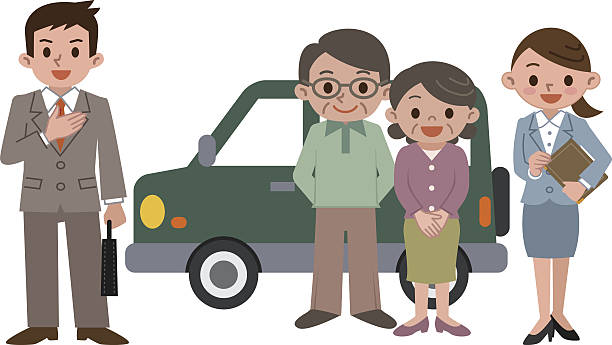 elderly couple to buy a car - old man standing background stock illustrations, clip art, cartoons, & icons