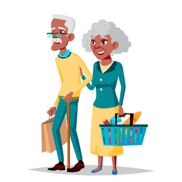 elderly couple vector. grandpa with grandmother. black, afro american. lifestyle. couple of elderly people. isolated flat cartoon illustration - old man long beard silhouettes stock illustrations, clip art, cartoons, & icons