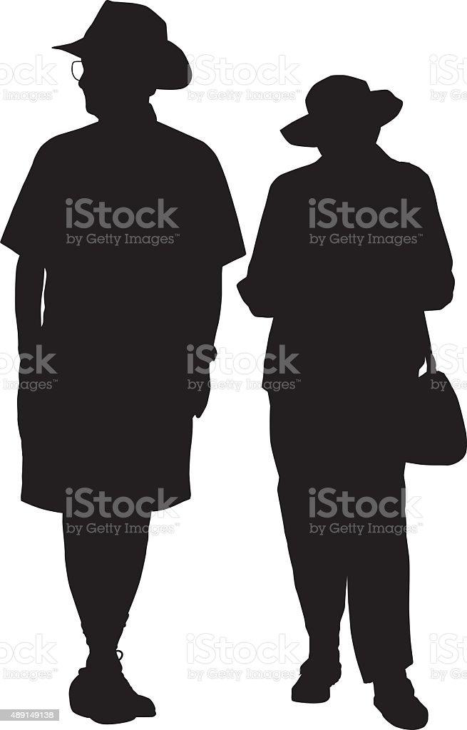 Elderly Couple vector art illustration