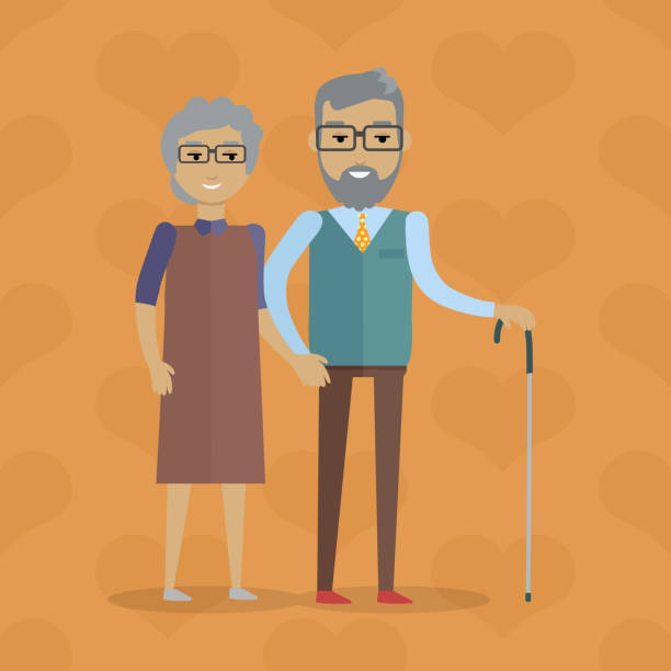 elderly couple vector illustration in flat design - old man smiling backgrounds stock illustrations, clip art, cartoons, & icons