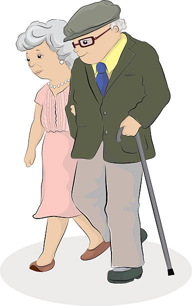 bildbanksillustrationer, clip art samt tecknat material och ikoner med elderly couple walking - middle aged man dating
