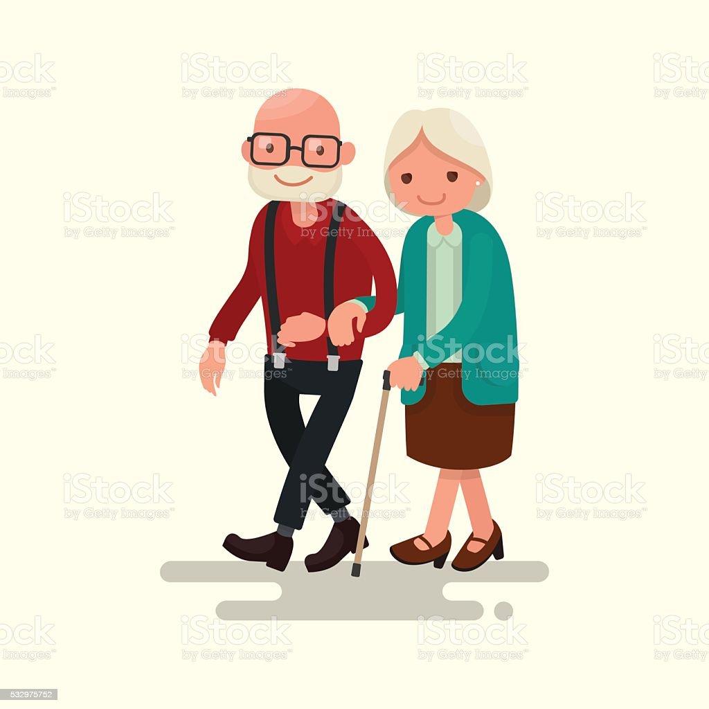 Pareja caminando de edad avanzada. Ilustración vectorial - ilustración de arte vectorial