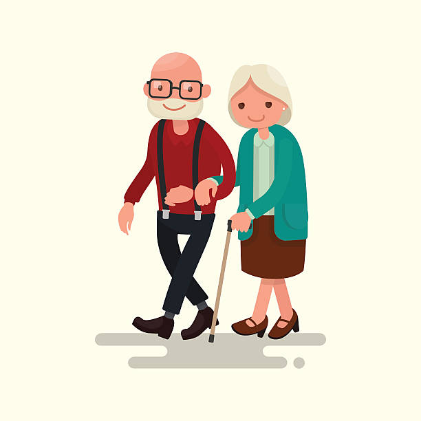 elderly couple walking. vector illustration - old man standing background stock illustrations, clip art, cartoons, & icons