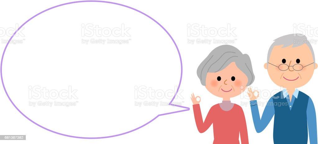 Elderly couple with blank text bubble,Balloon vector art illustration