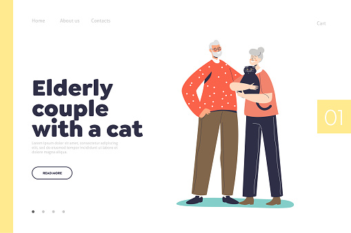 Elderly couple with cat concept of landing page with senior man and woman embracing pet