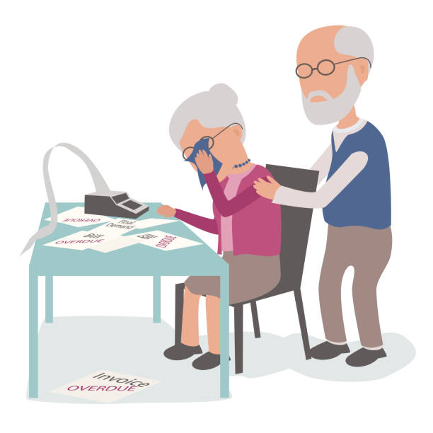 elderly couple with husband and wife upset worried about debt - old man crying stock illustrations, clip art, cartoons, & icons