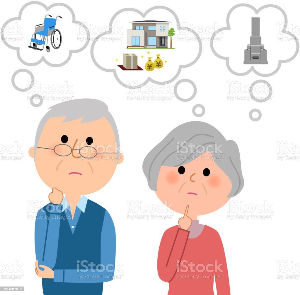 Elderly couple,Life plan vector art illustration