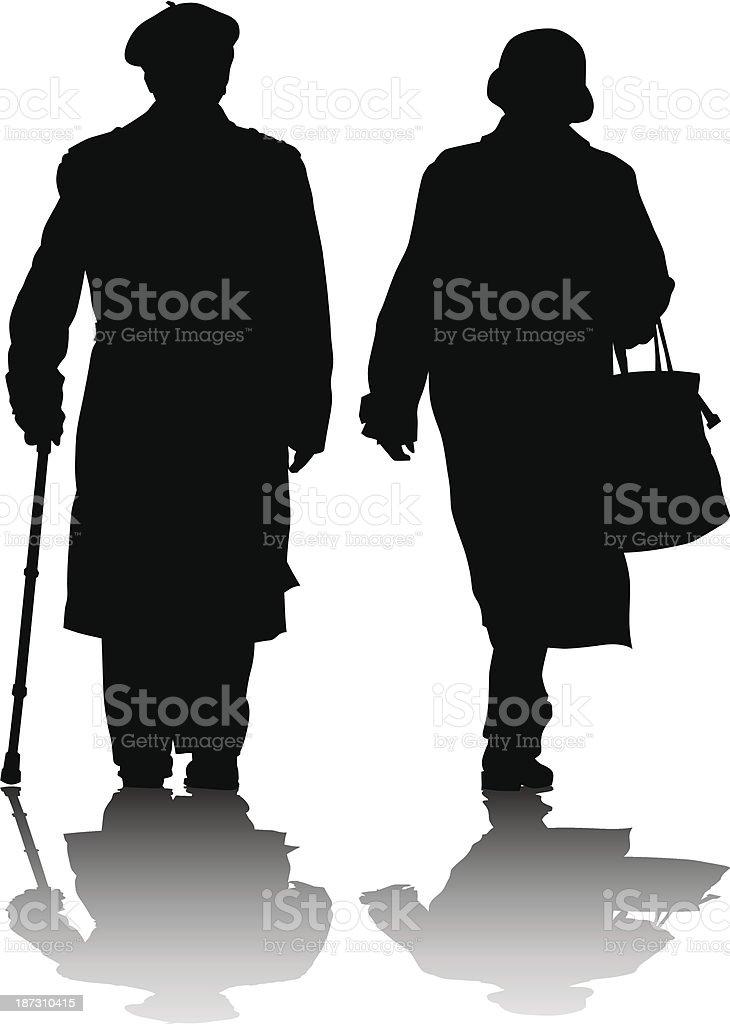 Elderly couples vector art illustration