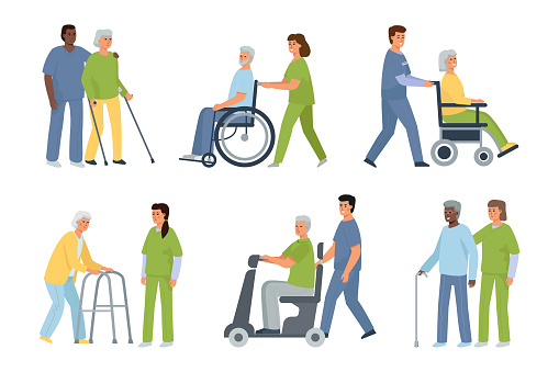 Elderly disabled patients and nurse and caregiver. A bundle of white-haired injured people and medical staff.