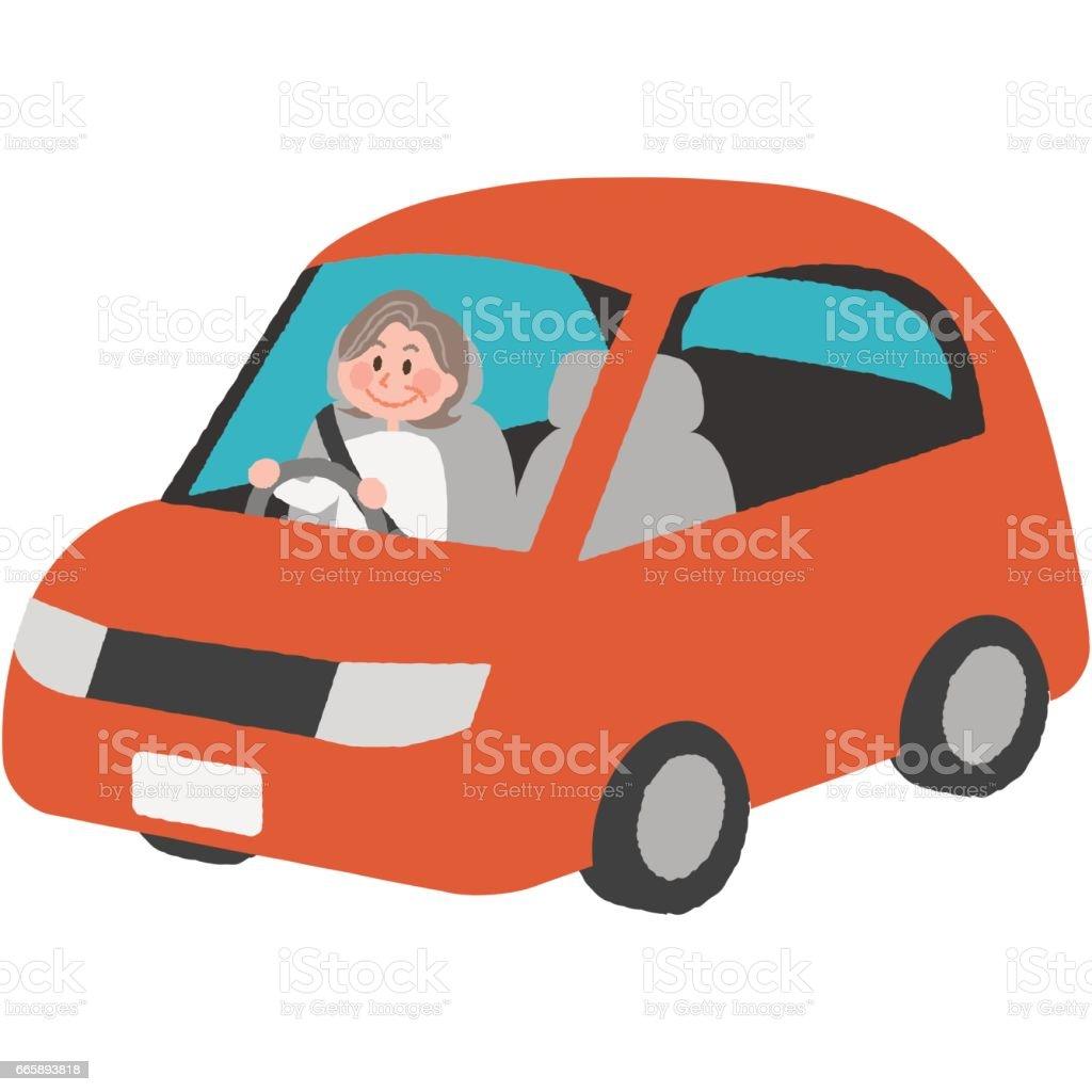 elderly driver vector art illustration