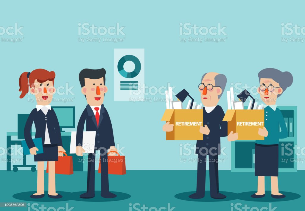 Elderly employee leaving office with box full of belongings. Time to retire vector concept vector art illustration