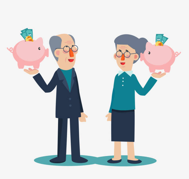 elderly employee with a piggy bank. saving money for retirement vector concept. senior couple with piggy bank - old man smiling silhouettes stock illustrations, clip art, cartoons, & icons