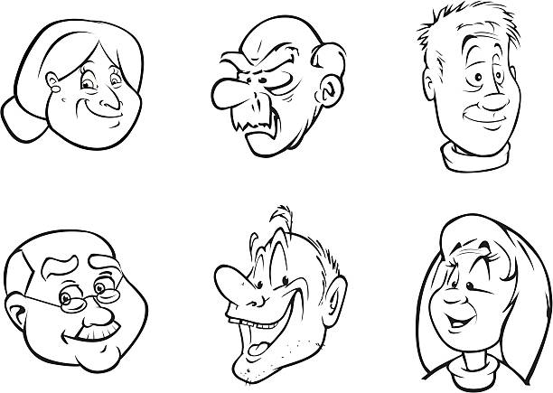 elderly faces - old man face cartoon stock illustrations, clip art, cartoons, & icons