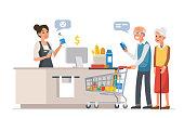 elderly family shopping