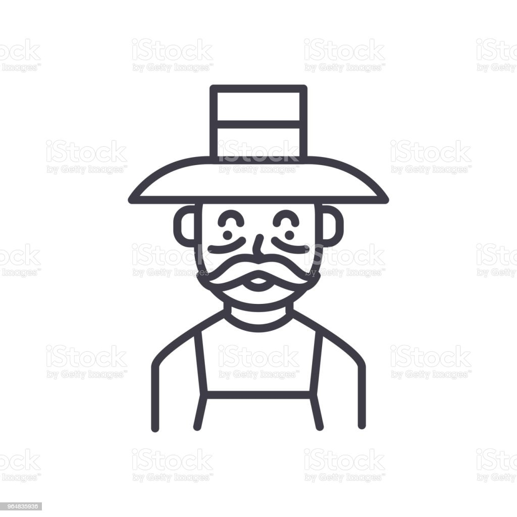 Elderly farmer black icon concept. Elderly farmer flat  vector symbol, sign, illustration. royalty-free elderly farmer black icon concept elderly farmer flat vector symbol sign illustration stock vector art & more images of agriculture