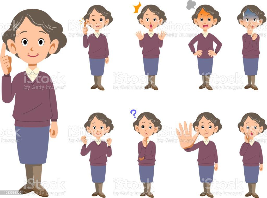 高齢者の女性の顔の表情やポーズを設定 9 種類 全身 1人のベクターアート素材や画像を多数ご用意 Istock