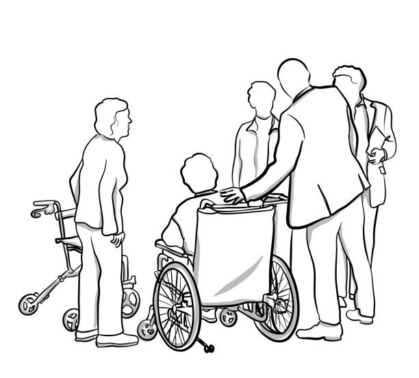 elderly friends - old man standing drawings stock illustrations, clip art, cartoons, & icons
