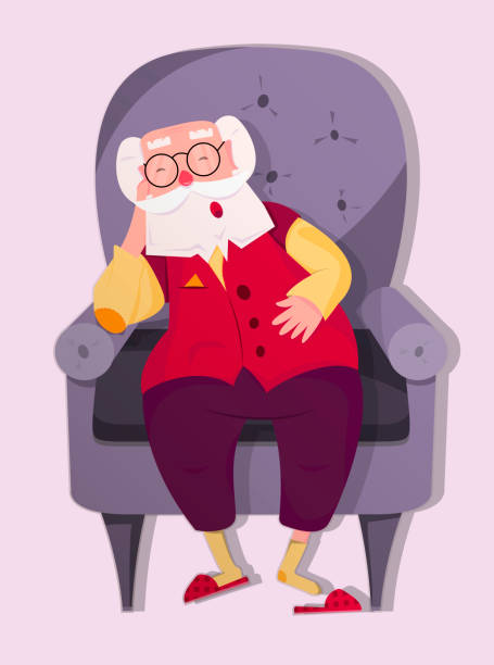 elderly grandfather sleeps in a chair,colorful cartoon character, vector image, flat design - old man sleeping silhouettes stock illustrations, clip art, cartoons, & icons