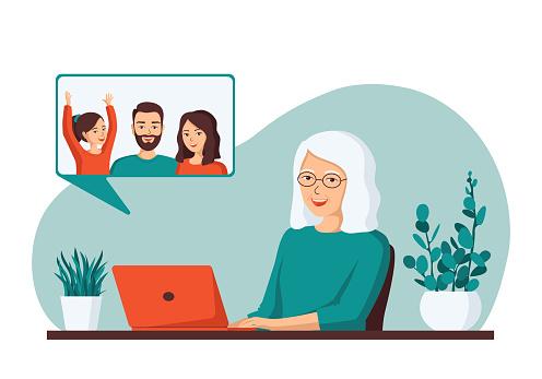 Elderly gray-haired woman makes video calls to her children.Concept old senior uses modern technology. Flat vector illustration