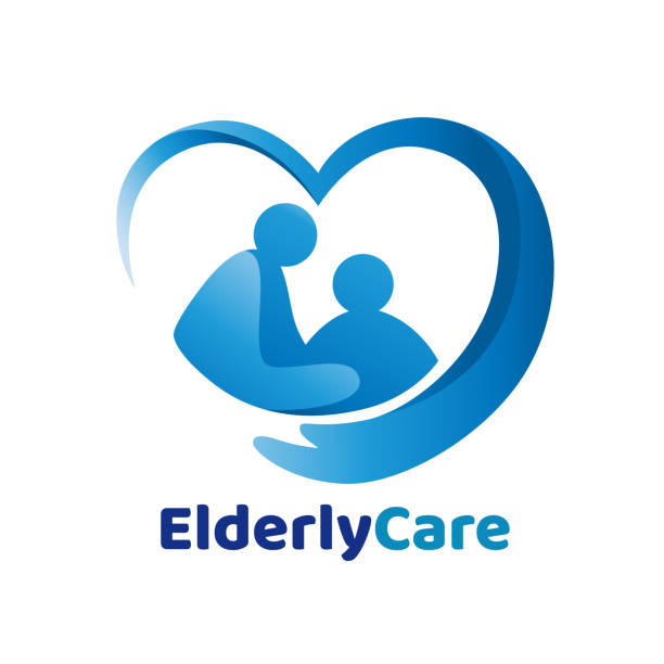 illustrazioni stock, clip art, cartoni animati e icone di tendenza di elderly healthcare heart shaped logo. nursing home sign. - personale medico