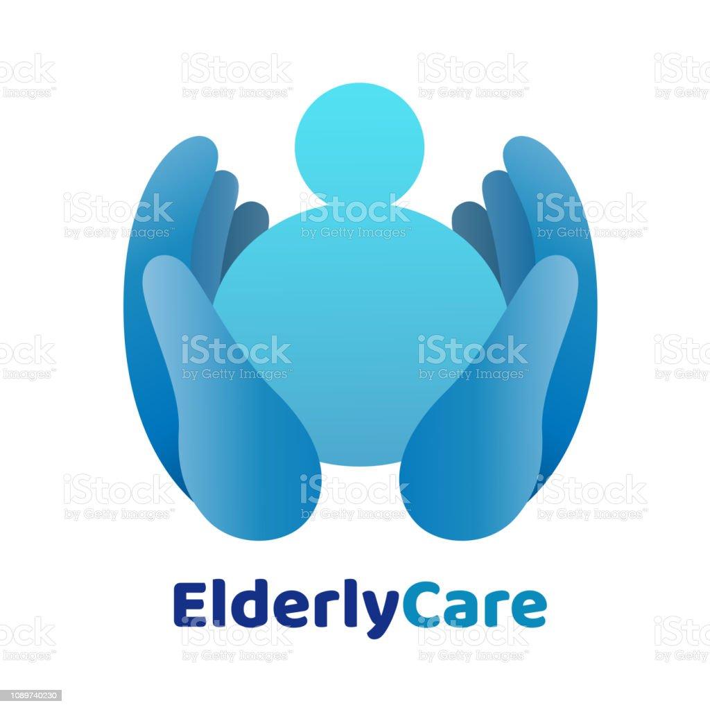 Logo de ancianos cuidado de la salud en forma de corazón. Muestra de ancianos. - ilustración de arte vectorial