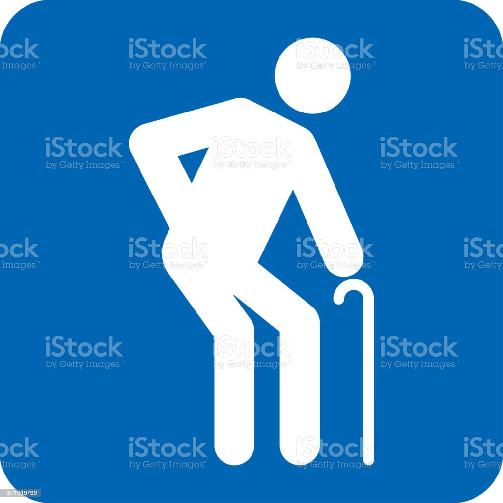 Mayor icono pictogram necesidades especiales, azul. Ideal para catálogos, información y material institucional - ilustración de arte vectorial