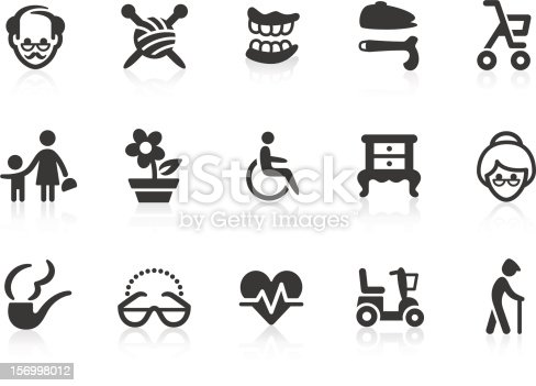 Monochromatic elderly and senior citizens related vector icons for your design and application. Raw style. Files included: vector EPS, JPG, PNG.