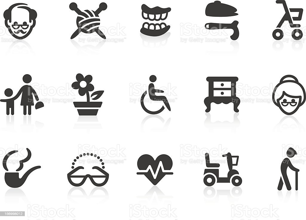 Elderly icons vector art illustration
