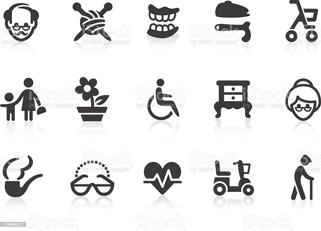 Iconos de edad avanzada - ilustración de arte vectorial