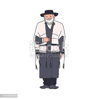 istock Elderly jewish religious orthodox man sketch vector illustration isolated. 1214507873