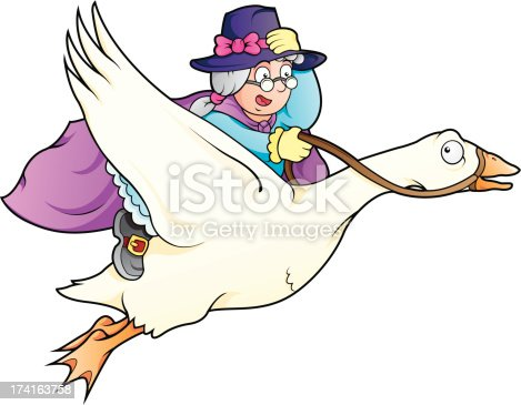 istock Elderly lady with magical powers flying on top of a goose 174163758