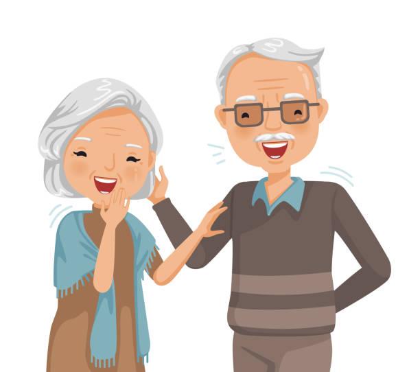 illustrazioni stock, clip art, cartoni animati e icone di tendenza di elderly laughing - couple portrait caucasian