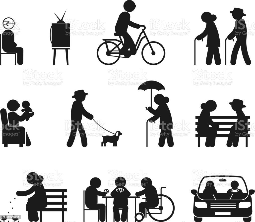 Elderly leisure activities vector art illustration